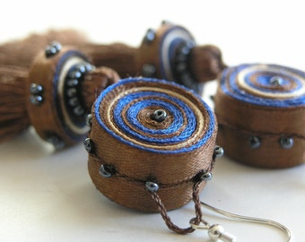 Dangle tassel earrings brown blue, long earrings, textile earrings - textile jewelry OOAK for order