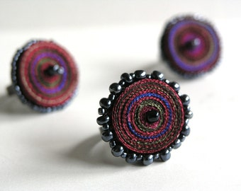 Textile rings red, special offer - Handmade textile jewelry - OOAK ready to ship