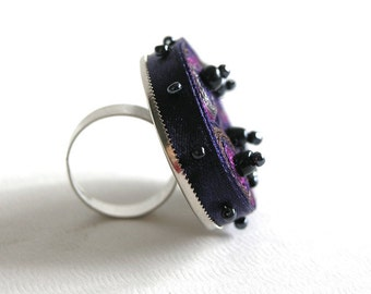 Adjustable textile ring, ring purple beaded, fabric ring, fiber ring navy, gift for woman, gift for her - Textile  jewelry ready to ship
