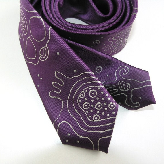 Men necktie purple skinny, men neck tie hand painted, gift for men - Hand painted accessory OOAK ready to ship