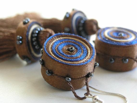 Dangle tassel earrings brown blue, long earrings, textile earrings - textile jewelry OOAK for order