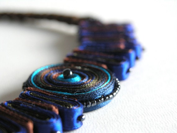 Textile Necklace Blue Turquoise - Fiber Pendant Brown Copper - Statement Necklace - Handmade Jewelry - OOAK Ready To Ship