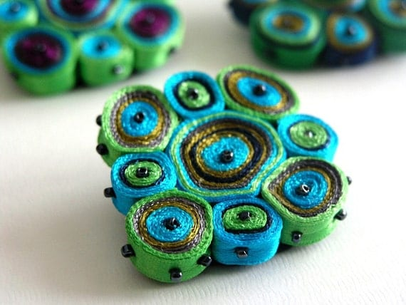 Textile brooch colorful circles design, fiber jewelry - Handmade textile jewelry - OOAK ready to ship