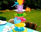 Whimsical Alice in Wonderland/Mad Hatter tea party tea cup centerpiece