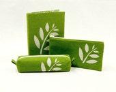 Leafy motif desk set, 3 pieces - notebook cover, pencil case, and zipper pouch