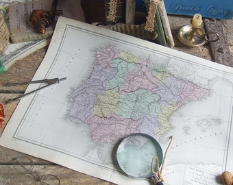 137 Years old Map Spain & Portugal in French Double page Printed in Paris 1879 Pastels