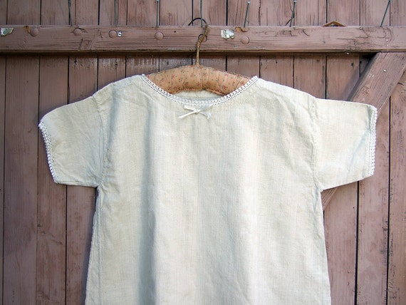 French Hemp Dress for girl or small Lady, Vintage simple primitive dress