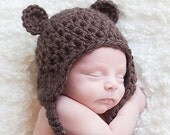 Baby Teddy Bear Earflap Beanie in cream or brown - 3 sizes from Newborn to 12 months- Newborn boy or girl photo prop