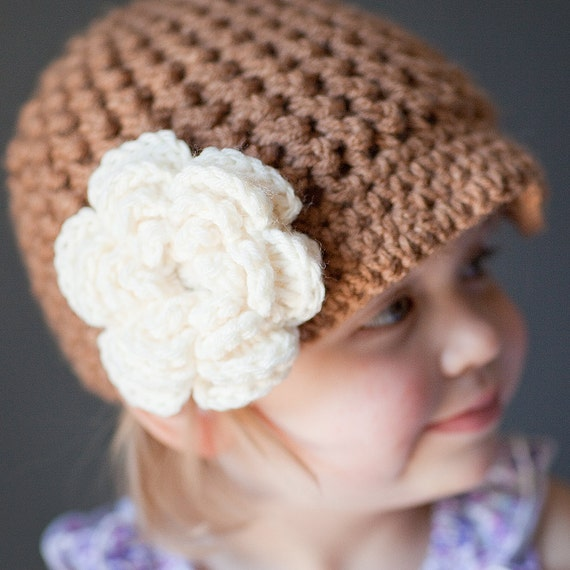 Reversible newsboy hat with TWO large detachable flower clips- choose your colors- Newborn, baby, toddler, child size