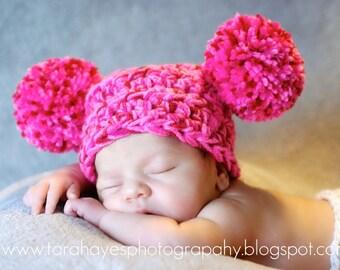 Chunky Pink Pom Pom Newborn Beanie On Sale