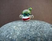 70's era, groovy Hippie Sock Monkey Glass Handmade Bead (Lampwork)