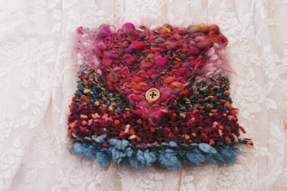 SALE Dream Weaver Pouch. Freeform Crochet, Art Yarn.