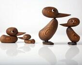 Mid Century Modern Duck Figurine Set, Japanese Cedar, Hans Bolling Style, Danish Modern, Rare