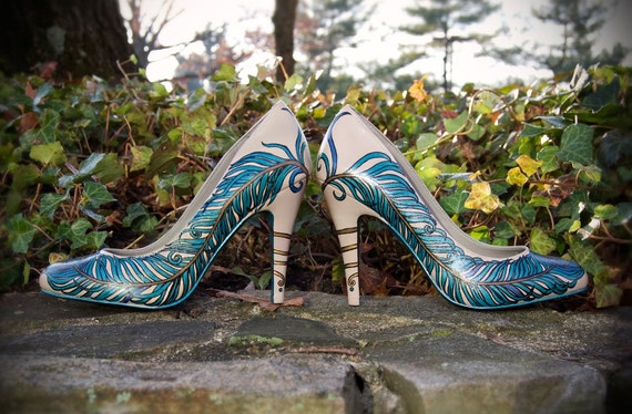 Elegant Eyes - Hand Painted Peacock Feather Shoes (perfect for the vintage bride) (8)