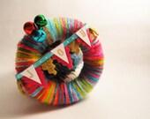 Mini Yarn Wreath Holiday Ornament- 3 in- Rainbow Joy Bunting