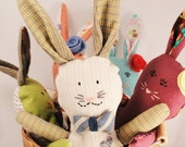 Rabbit Doll- Stuffed Plush Bunny Toy- Woodland Kid Baby Room- The Debonair Hare- Blue/Tan