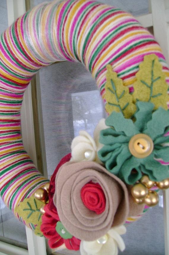 Yarn and Felt Flower Wreath- 10in- Perfect Patti