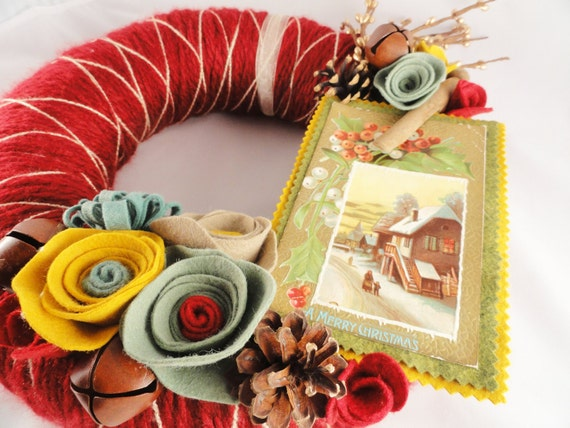 Yarn Wreath with Felt Flowers and Vintage Postcard- 12 in- Christmas Spice