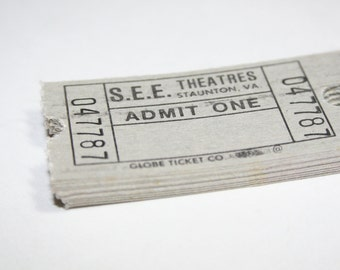 25 Vintage Grey Staunton Virginia Movie Theater Tickets - Mixed Media Art Collage Supplies