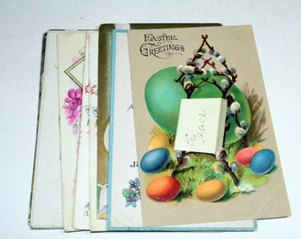 10 Early 1900s Easter Postcards - Eggs