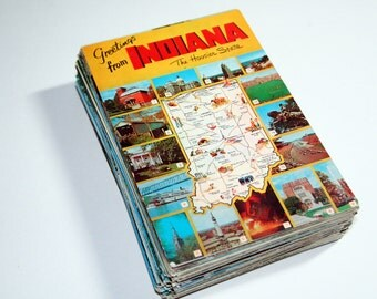 100 Vintage Indiana Chrome Postcards Blank - Wedding Guestbook