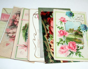 15 Early 1900s Birthday Postcards - Shades of Pink - Mixed Media, Collage, Art Journal, Scrapbooking, Assemblage Supplies