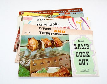 8 Vintage Lamb Recipe Pamphlets - Mixed Media, Altered Art, Assemblage, Collage Supplies, Paper Ephemera