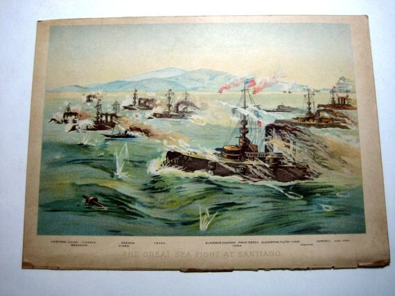The Great Sea Fight at Santiago - Antique Print - 1901
