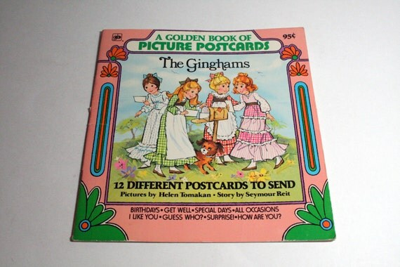 The Ginghams - A Golden Book of Postcards -12 Blank Postcards - 1977
