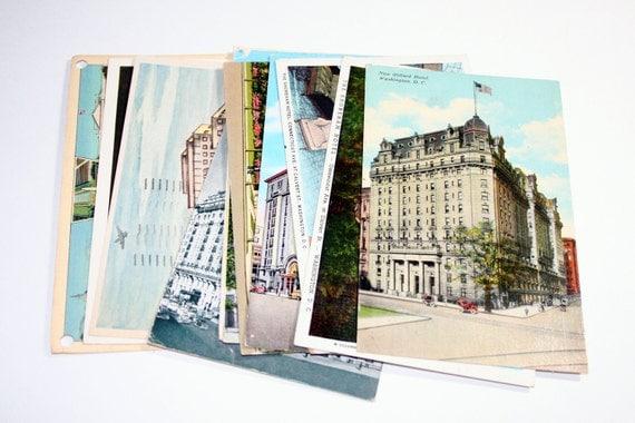 15 Vintage Washington DC Hotels Postcards Used