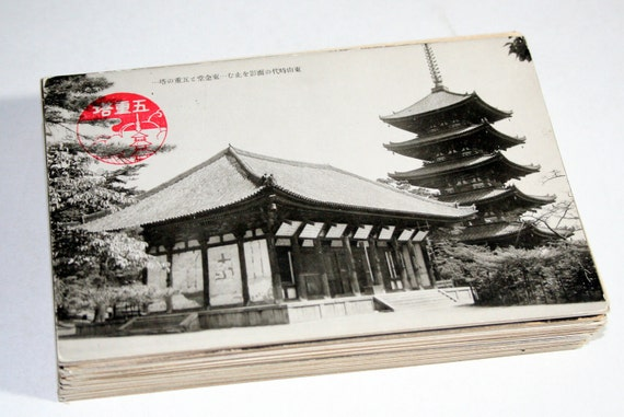 75 Vintage Japan Black and White Postcards Blank - Wedding Guestbook