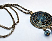HematiteTeal Black Antique Gold Metal Necklace OOAK Free Shipping