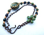 Light Green Beaded Flower Antique Gold Blue Purple Pressed Glass Beads Bracelet