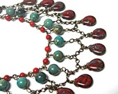 Turquoise Jasper, Red Coral and Red/Turquoise Teardrops Boho Bib Necklace