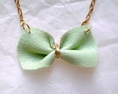 Bright Leather Jewelry Mint Green Bow Necklace