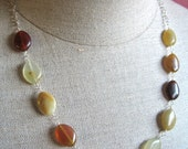 Earthy Jewelry Beaded necklace - Organic Earth Tones - Dressy, Fire Agate beads - Yellow orange brown amber