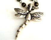 Dragonfly pendant wrap necklace