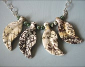 Silver Leaf Necklace Ocean Jasper Stones - Wire wrapped - Woodland Jewelry - Original, Modern layering necklace