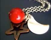 Solar System Necklace Planet Mars Stars Moon Charm Geology Jewelry