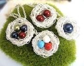 Silver Bird Nest Necklace with pearls, birthstone mothers jewelry, mother of one two three or four, silver chain