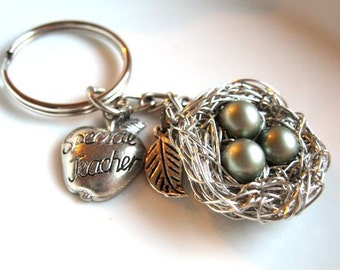 Teacher Gift Key chain - back to school with Swarovski Pearls and Bird's Nest