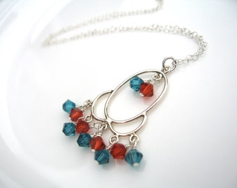 Swarovski Crystal Necklace, Pumpkin Orange and Ocean Blue Crystals, Sterling silver pendant, wire wrapped