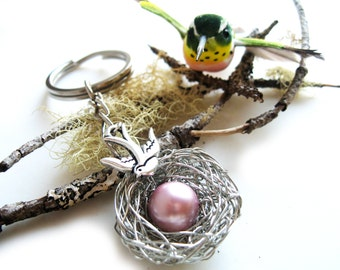 Mothers day gift, Accessory for new moms, newborn baby girl, babyshower gift - bird nest wire jewelry, silver sparrow gift for mom