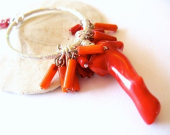 Coral Bouquet Necklace Boho Chic Silver Red Orange Natural gemstone Wire Wrapped Long Necklace Spring Fashion