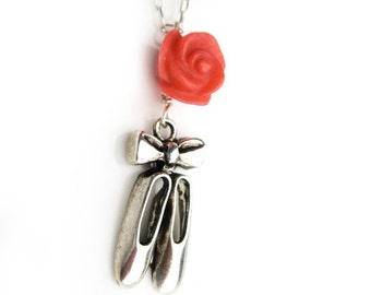 Tiny Ballet Shoes Silver Dancer Pendant Necklace with Orange Natural Coral Rose
