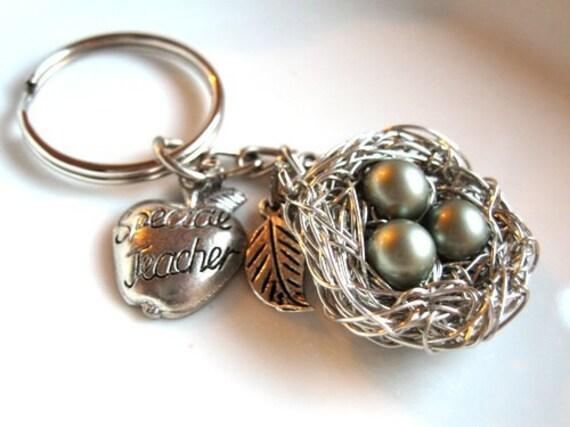 Teacher Gift Keychain - Apple Charm, Birds Nest with Pearls