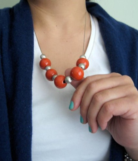 SPRING SALE, Chunky Orange Necklace in Silver - Simple Ceramic jewelry, burnt orange, tangerine round beads