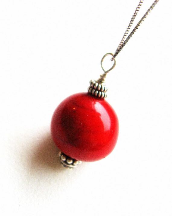 Cherry Red Necklace, Sterling Silver,  Red Glass Bead Murano Glass Jewelry - Love in Venice 2012 Collection