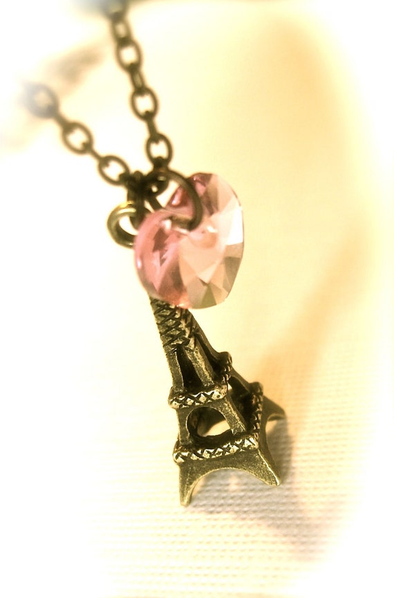 SPRING SALE, Romantic Eiffel Tower Necklace, Pink Swarovski Crystal Heart and Paris Eiffel Tower Charm in antiqued brass