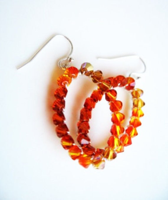 Fall Earrings, Wire Wrapped Bright Orange Ombre Earrings, Sterling Silver Oval Hoops Jewelry